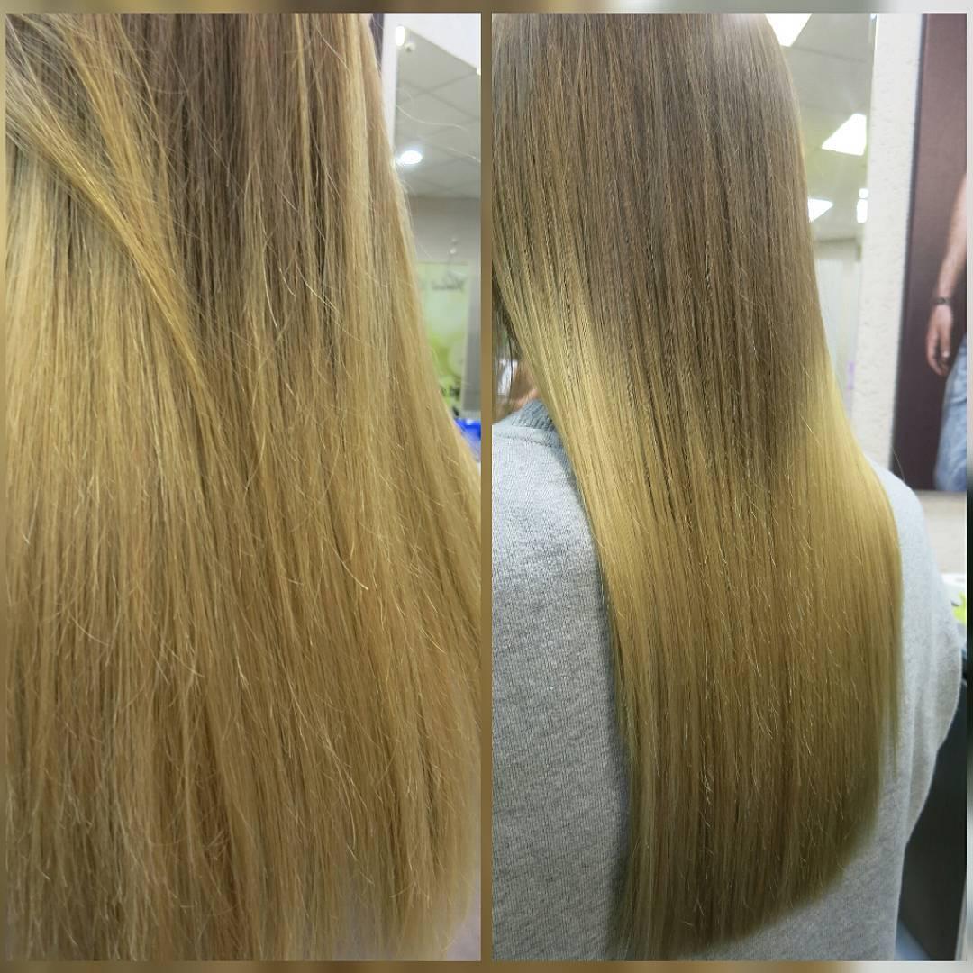 полировка волос до и после фото